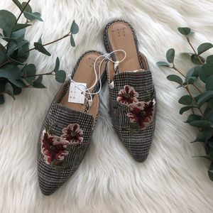 A New Day Embroidered Plaid Eve Mule Slides Loafer